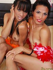 Asian ladyboys likes to party naked