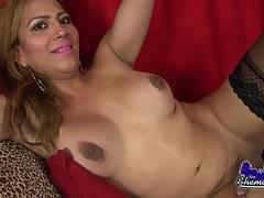 Horny Patricia Strokes Her Cock
