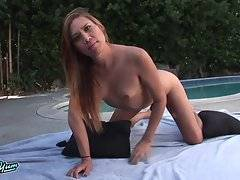 Roxxie Monroe Strokes Her Cock Poolside